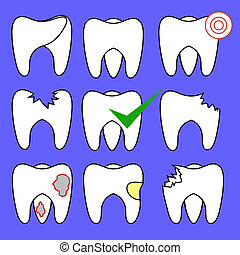Set of Rotten Teeth and Healthy Isolated on Blue Background...