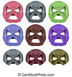Set of Colorful Superhero Mask Isolated on White Background