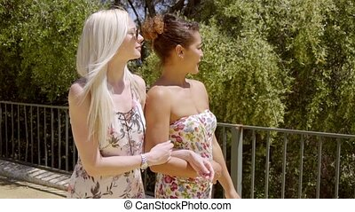 Two fashionable young woman out walking