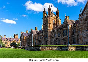 Sydney, uni, edificio, facade., universidad, de, Sydney,...