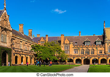 Sydney Uni inner yard with students in the distance enjoying...