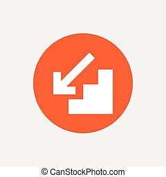 Downstairs icon. Down arrow sign. Orange circle button with...