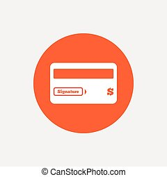 Credit card sign icon Debit card symbol Virtual money Orange...