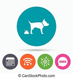 Feces sign icon. Clean up after pets symbol. - Wifi, Sms and...
