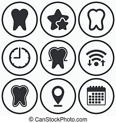 Tooth enamel protection icons Dental care signs - Clock,...