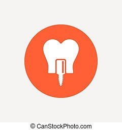 Tooth implant sign icon Dental care symbol - Tooth implant...