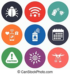 Bug disinfection signs Caution attention icon - Wifi, mobile...