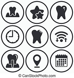 Dental care icons Caries tooth and implant - Clock, wifi and...
