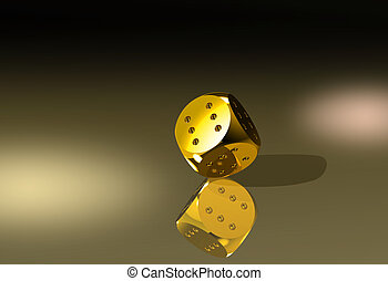 Golden winning dice in balance - Golden dice with six dots...