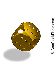Golden winner\'s dice flying - Golden dice with six dots...