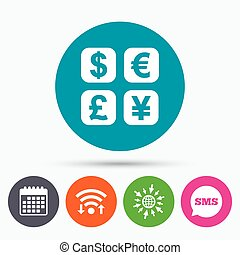 Currency exchange sign icon. Currency converter - Wifi, Sms...