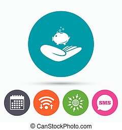 Donation hand sign icon. Charity or endowment. - Wifi, Sms...