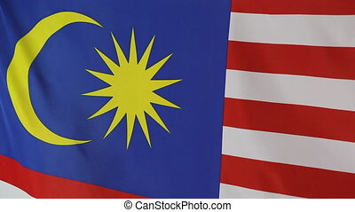 Closeup of flag of Malaysia - Closeup of national flag of...