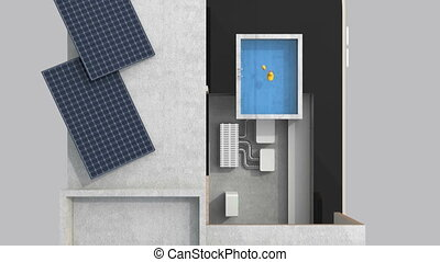 Smart house on smart phone - 3DCG animation of smart house...