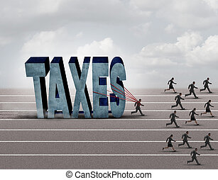 Tax Burden - Tax burden business concept as a slow burdened...