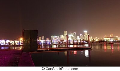 Hyperlapse shot of Miami Skyline by night - MIAMI, FLORIDA -...