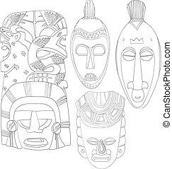 komplet, sztuka,  D, plemienny, maski, Ręka, kreska