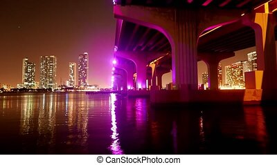 Time lapse shot of Mc Arthur Causeway Bridge to Miami Beach...