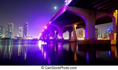 Time lapse shot of Mc Arthur Causeway Bridge to Miami Beach at night - Miami Timelapse 4k - MIAMI, FLORIDA - APRIL 10, 2016