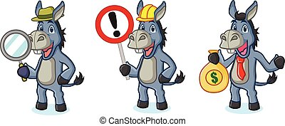 Blue Donkey Mascot with sign