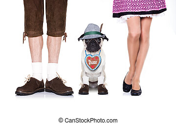 bavarian dog and owner - pug dog with gingerbread heart and...