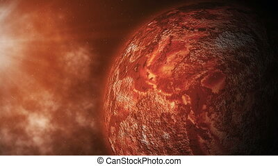 Red planet is close to the sun. Movement of celestial bodies...