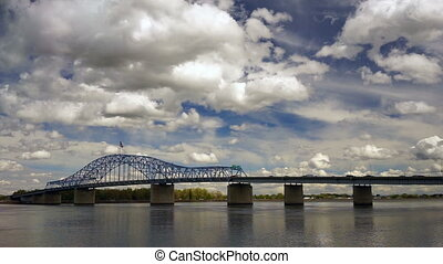 Clouds Roll Fast Past Pioneer Memorial Bridge and the Columbia River Kennewick Washington