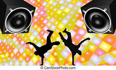 Breakdance - Illustration of breakdance silhouettes with 3D...