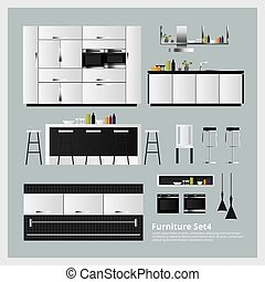 Furniture and Home Decoration Set Vector Illustration