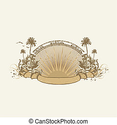 tropical insignia - Vector insignia and banner. Surice on...