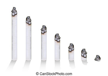Cigarette bar chart, concept of cigarettes harmful, isolated...