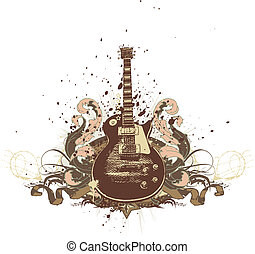 Guitar on the grunge background Vector illustration