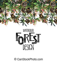 Endless forest design. Insects among larch cones and...