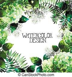 Green watercolor hydrangea design. Romantic vector floral...