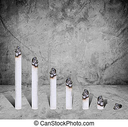 Cigarette bar chart, concept of harmful of cigarette, on...