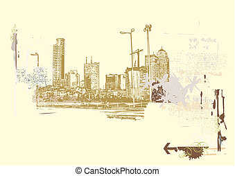 Big City - Big City - Grunge styled urban background. Vector...