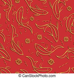 Chinese vector seamless pattern with ornamental fish