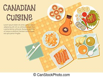 Canadian cuisine dishes for picnic or bbq icon - Canadian...