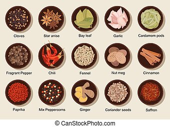 Natural healthy fresh and dried spices flat icon - Fresh and...
