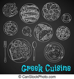 Blackboard menu of chalk sketched greek dishes - Chalkboard...