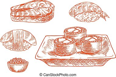 Sketched seafood icons with sushi, salmon, caviar