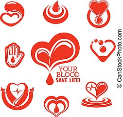 Red hearts and helping hand with drops of blood