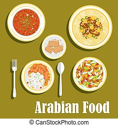 Regional arab cuisines dishes flat icon - Various dishes of...