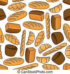 Bread and buns seamless pattern for bakery design - Bread...