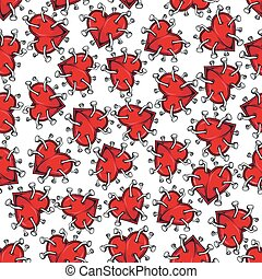 Spiky broken hearts with nails seamless pattern