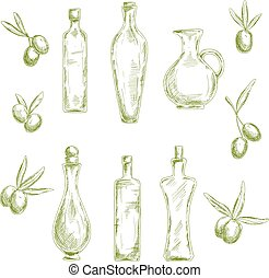 Organic olive oil with fresh fruits sketch icons - Retro...