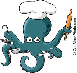 Octopus chef in white cook hat cartoon character