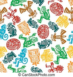 Seamless mayan and aztec pattern of animal totems - Ancient...