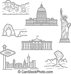 National landmarks of USA icons in thin line style - Popular...