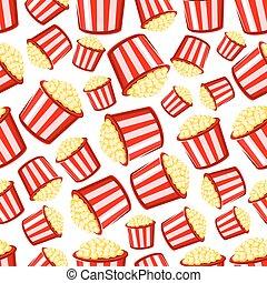 Takeaway buckets of popcorn seamless pattern